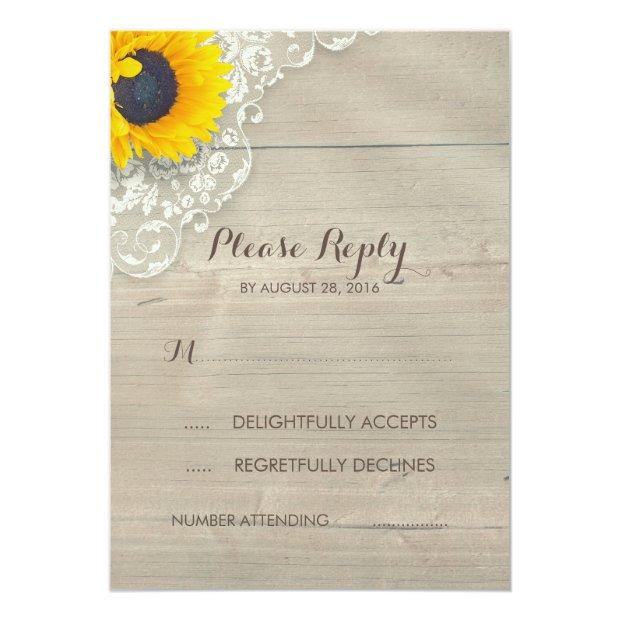Sunflower Lace And Wood Rustic Wedding Rsvp Invitation