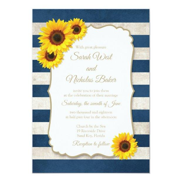 Sunflower Stripes Wedding Invitation, Navy Blue Invitation