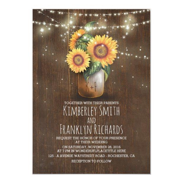 Sunflowers Mason Jar String Lights Barn Wedding