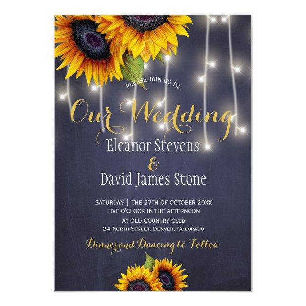 Sunflowers Navy Chalkboard Fall Trendy Wedding Invitation