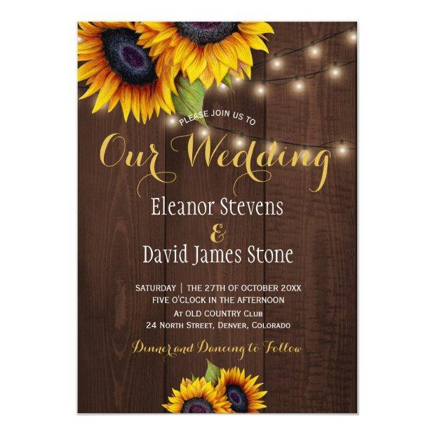 Sunflowers String Lights Fall Trendy Wedding