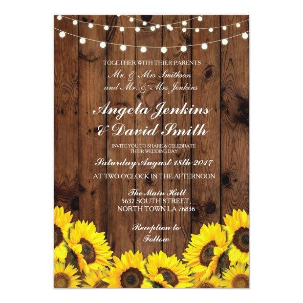 Sunflowers Wood Wedding Rustic Floral Light Invite