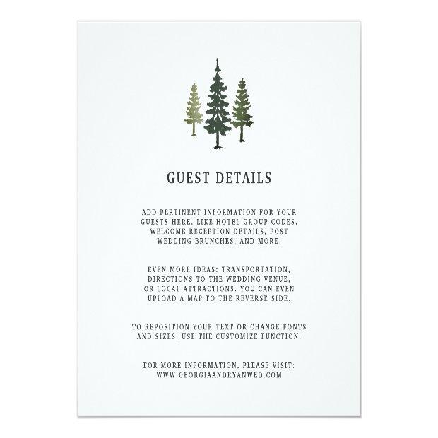 Tall Pines Wedding Guest Details Invitationss