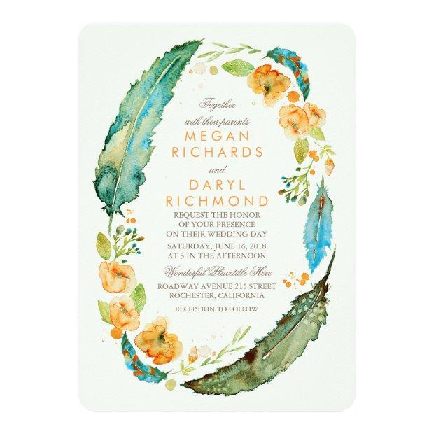 Teal Bohemian Floral Feathers Botanical Wedding