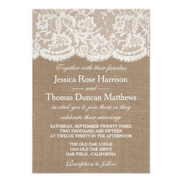 The Burlap & Lace Wedding Collection Invitationss