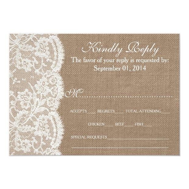 The Burlap & Lace Wedding Collection Rsvp Invitationss