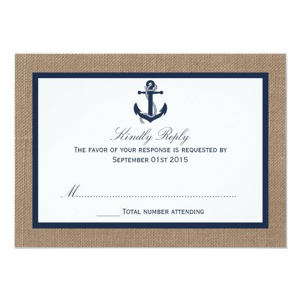 The Navy Anchor On Burlap Beach Wedding Collection Invitationss