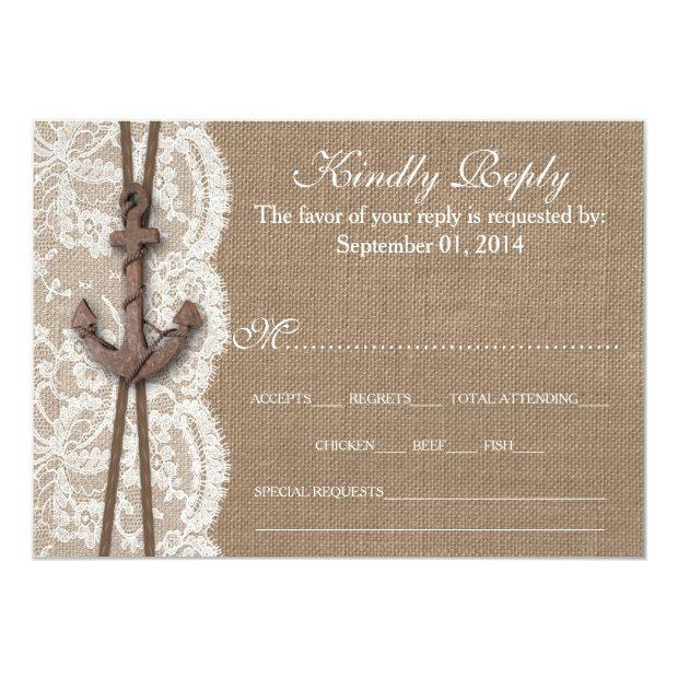 The Rustic Nautical Anchor Wedding Collection Rsvp Invitationss