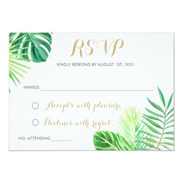 Tropical Palm Leaf Beach Rsvp Respond