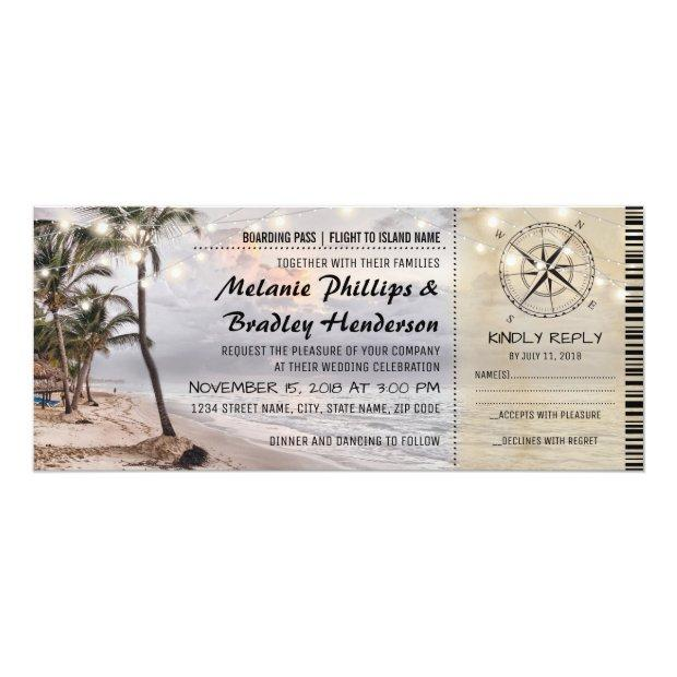 Tropical Vintage Beach Wedding Tickets With Rsvp