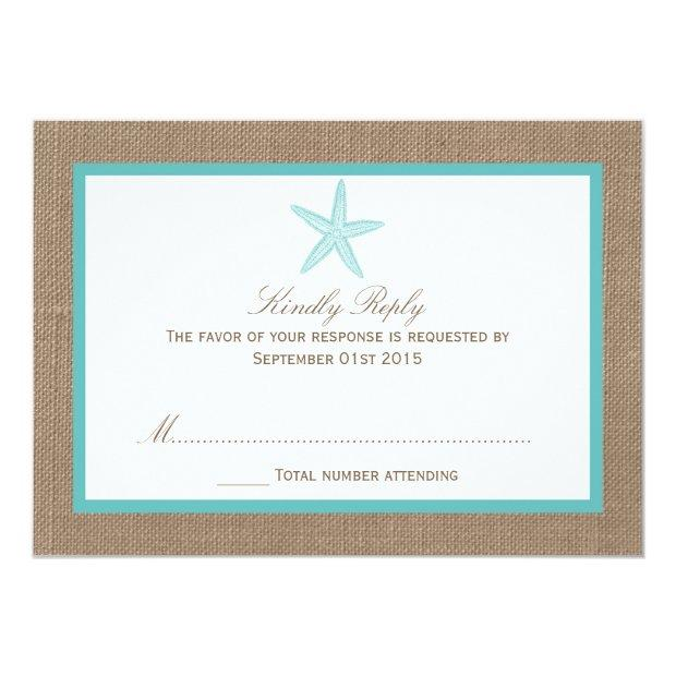 Turquoise Starfish Burlap Beach Wedding Collection Invitationss
