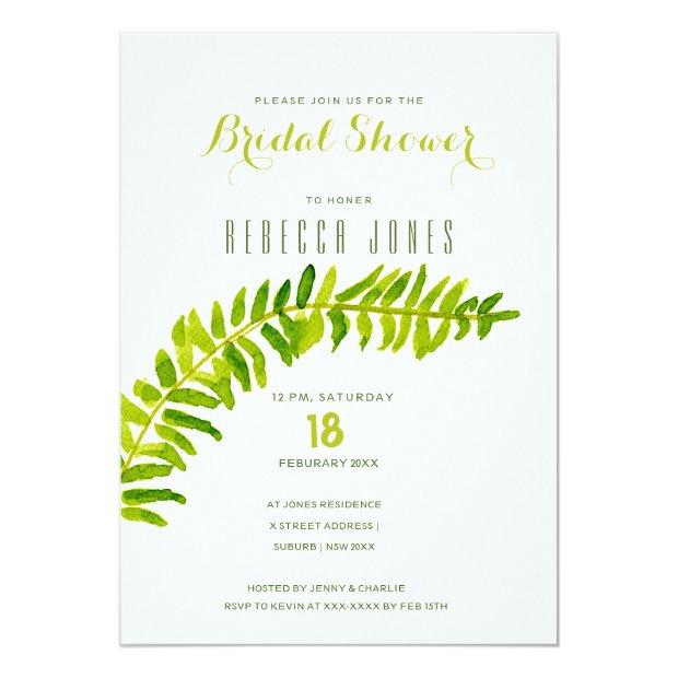 Vibrant Green Watercolour Fern Bridal Shower