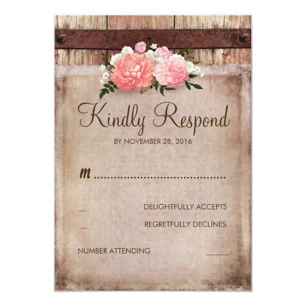 Vintage Burlap And Rustic Wood Floral Wedding Rsvp