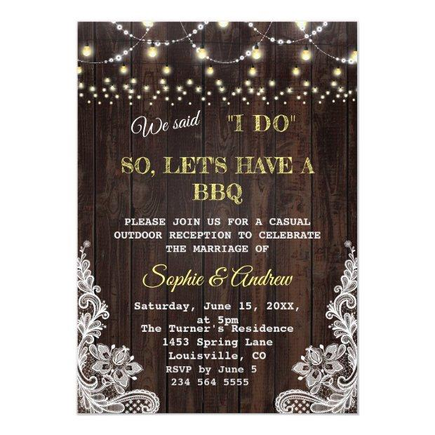 Vintage Lace String Lights Old Barn I Do Bbq Invitation
