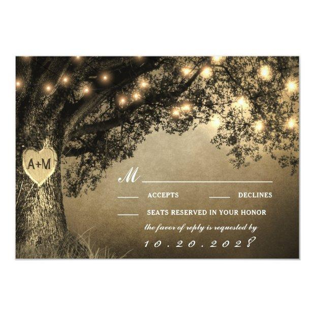 Vintage Rustic Carved Oak Tree Wedding Rsvp Invitationss