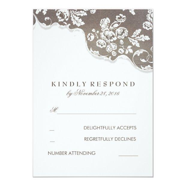 Vintage White Lace Rustic Wedding Rsvp Invitation