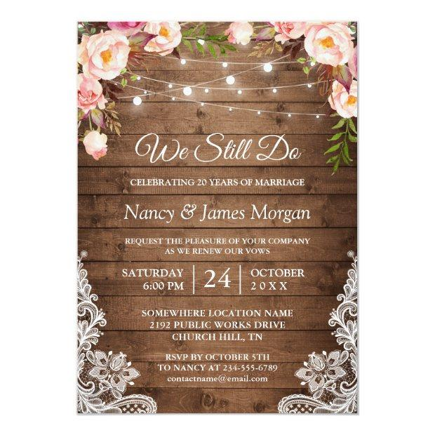 Vow Renewal Rustic Wood String Lights Lace Floral