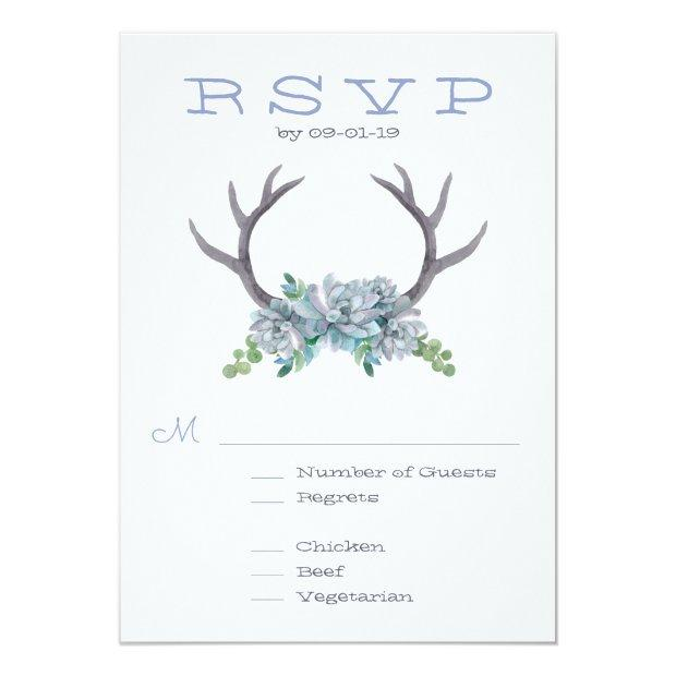 Watercolor Antlers And Echeveria Wedding Rsvp Invitation