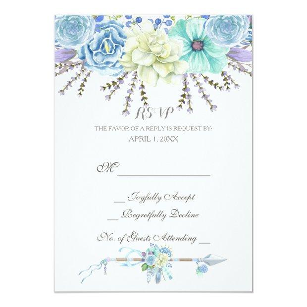 Watercolor Arrows Feathers Floral Boho Tribal