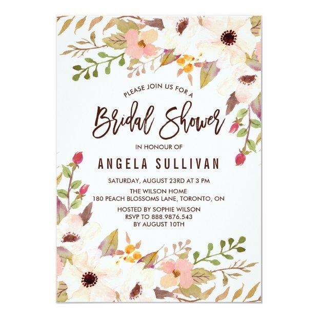 Watercolor Bohemian Flowers Bridal Shower Invitationss