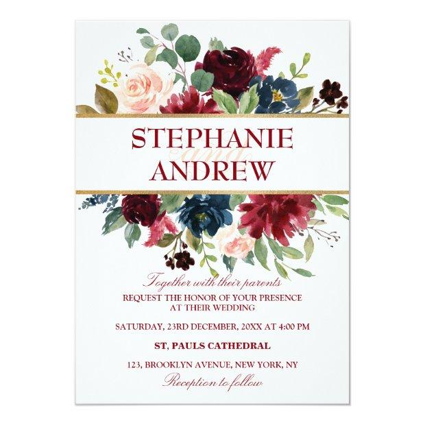Watercolor Burgundy Red Navy Floral Rustic Boho Invitationss