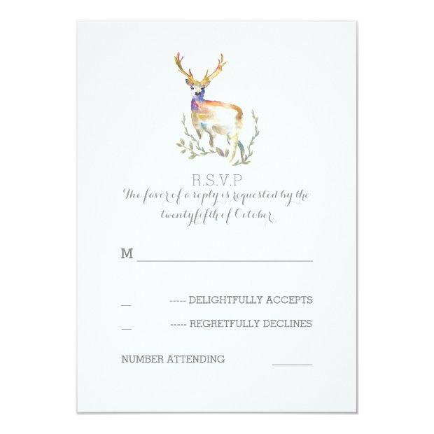 Watercolor Deer Antlers Wedding Rsvp Invitation