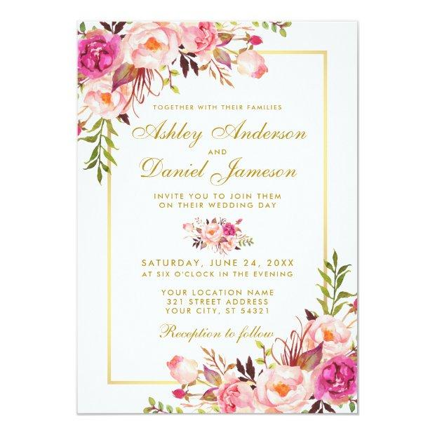 Watercolor Floral Pink Blush Gold Wedding Invitationss