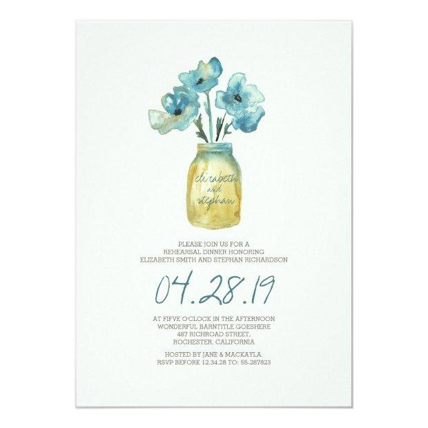 Watercolor Floral Rehearsal Dinner Invitationss