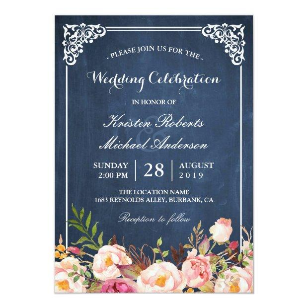 Wedding Celebration Pink Floral Blue Chalkboard