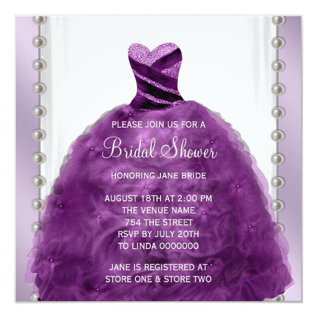 Wedding Dress And Pearls Plum Purple Bridal Shower