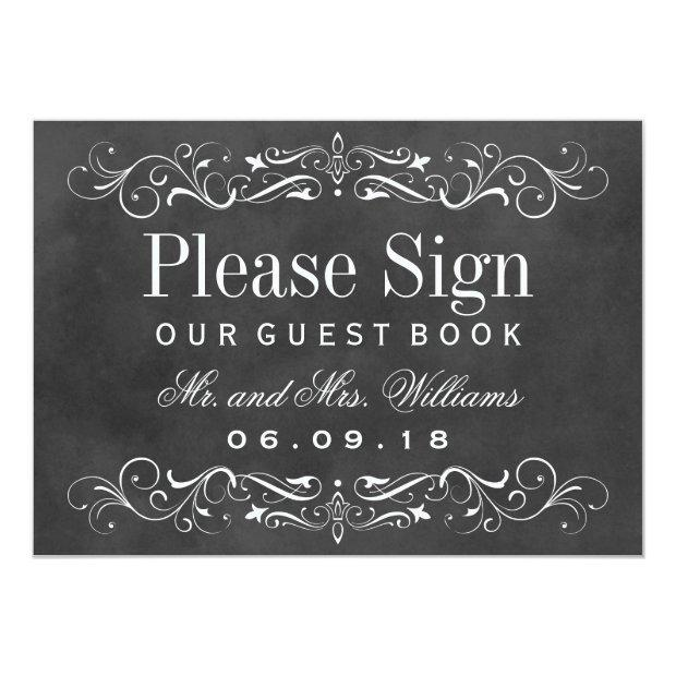 Wedding Guest Book Sign | Chalkboard Flourish
