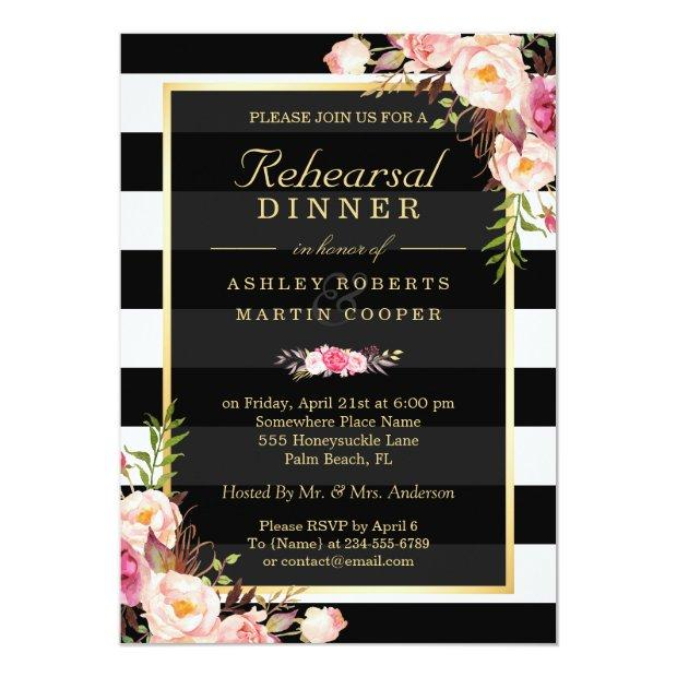 Wedding Rehearsal Dinner Vintage Gold Floral Decor