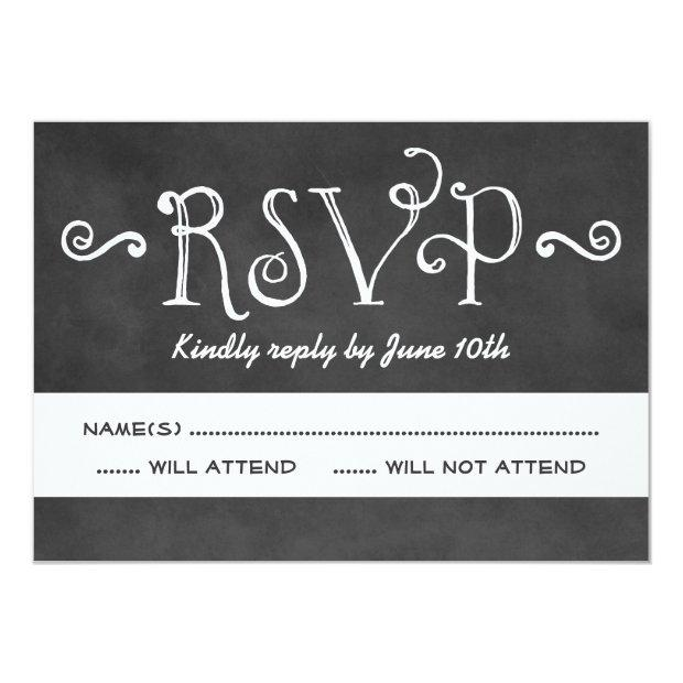 Wedding Rsvp Invitation | Black Chalkboard Charm