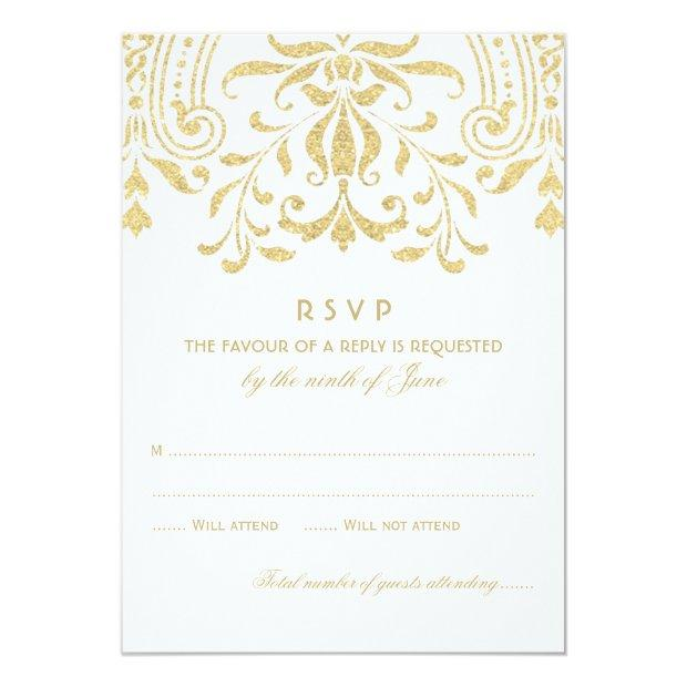 Wedding Rsvp  | Gold Vintage Glamour