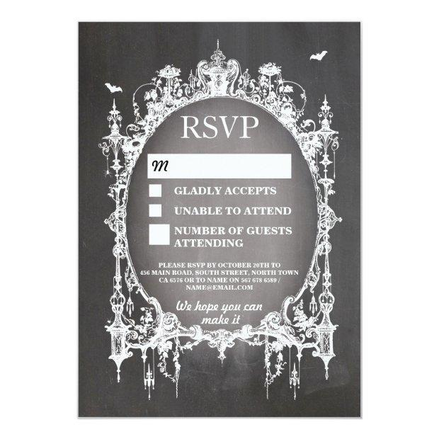 Wedding Rsvp Gothic Frame Rustic Halloween