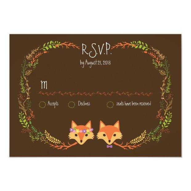 Whimsical Woodland Foxes Wedding Rsvp