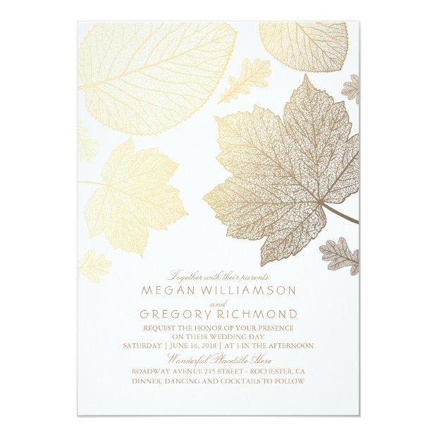 White And Gold Leaves Vintage Fall Wedding Invitationss