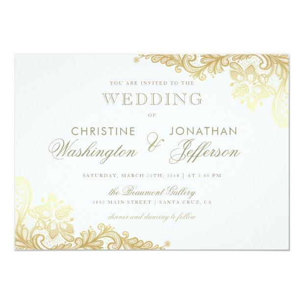 White & Gold Foil Floral Lace Wedding Invitation
