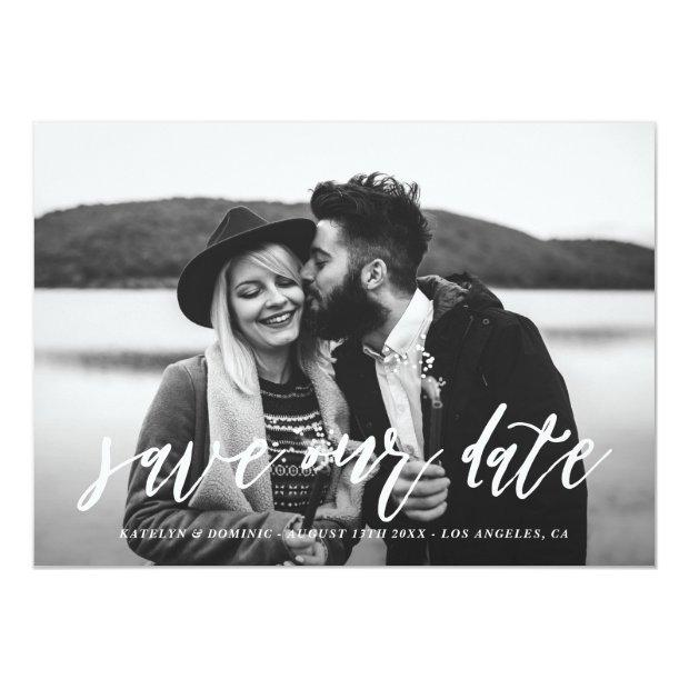 White Hand Lettered Script Photo Save The Date