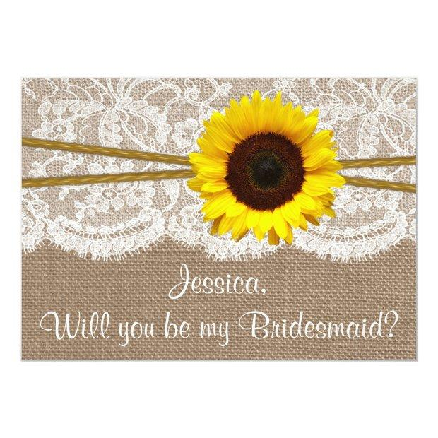 Will You Be My Bridesmaid? Sunflower Rustic Burlap Invitationss