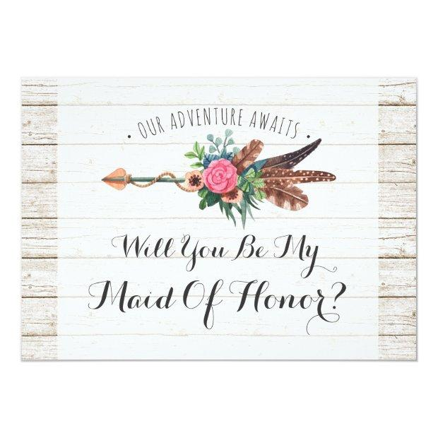 Will You Be My Maid Of Honor? Rustic Boho Wedding Invitation