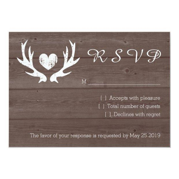 Wood Country Chic Deer Antler Rsvp Wedding