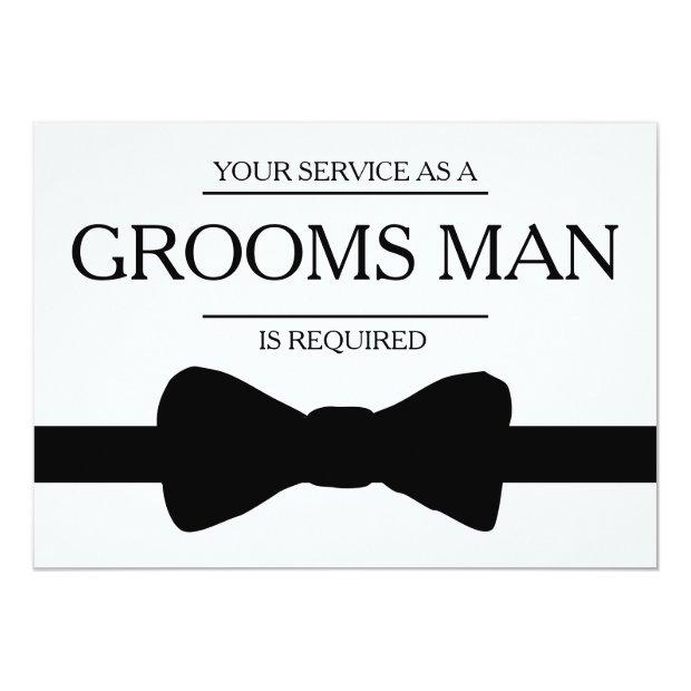 Your Service Is Requested As Best Man Groomsman Invitationss