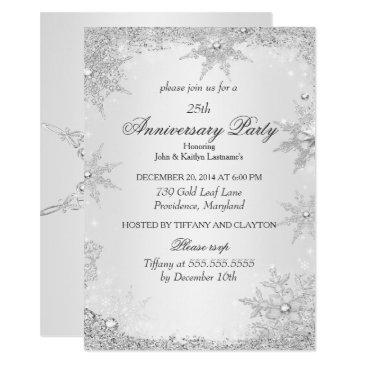 25th anniversary party silver winter wonderland invitations