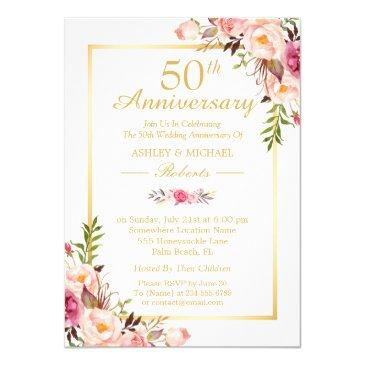 50th wedding anniversary elegant chic gold floral