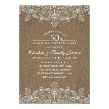 Small 50th Wedding Anniversary Rustic Dark Burlap Lace Front View