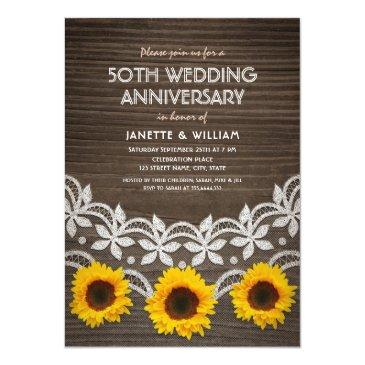 Small 50th Wedding Anniversary Rustic Sunflowers Lace Front View