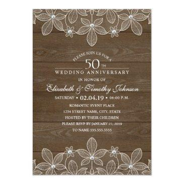 Small 50th Wedding Anniversary Rustic Wood Country Lace Front View