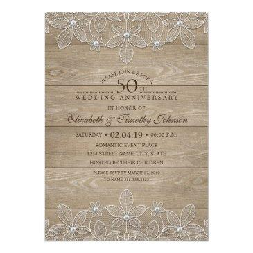 50th wedding anniversary rustic wood vintage lace