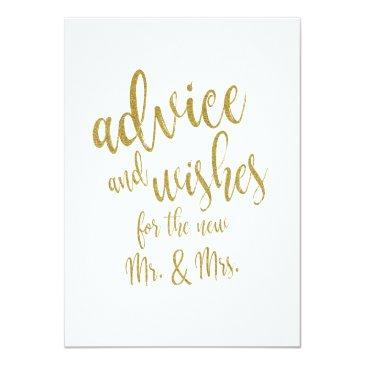 advice and wishes gold affordable wedding sign